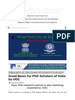 Good News for PhD Scholars of India by UGC _ PeerScientist