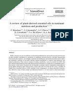 Benchaar (2008) Plant Derrive Essential Oil Review