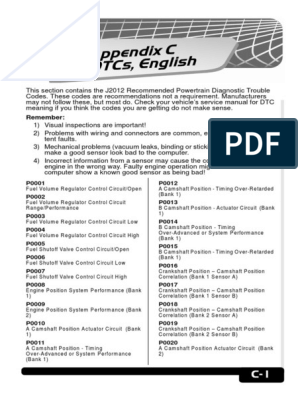 Diagnostic-Trouble-Codes-TOAD pdf | Fuel Injection | Throttle