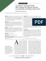 Mortality Depression and Coronary Desease
