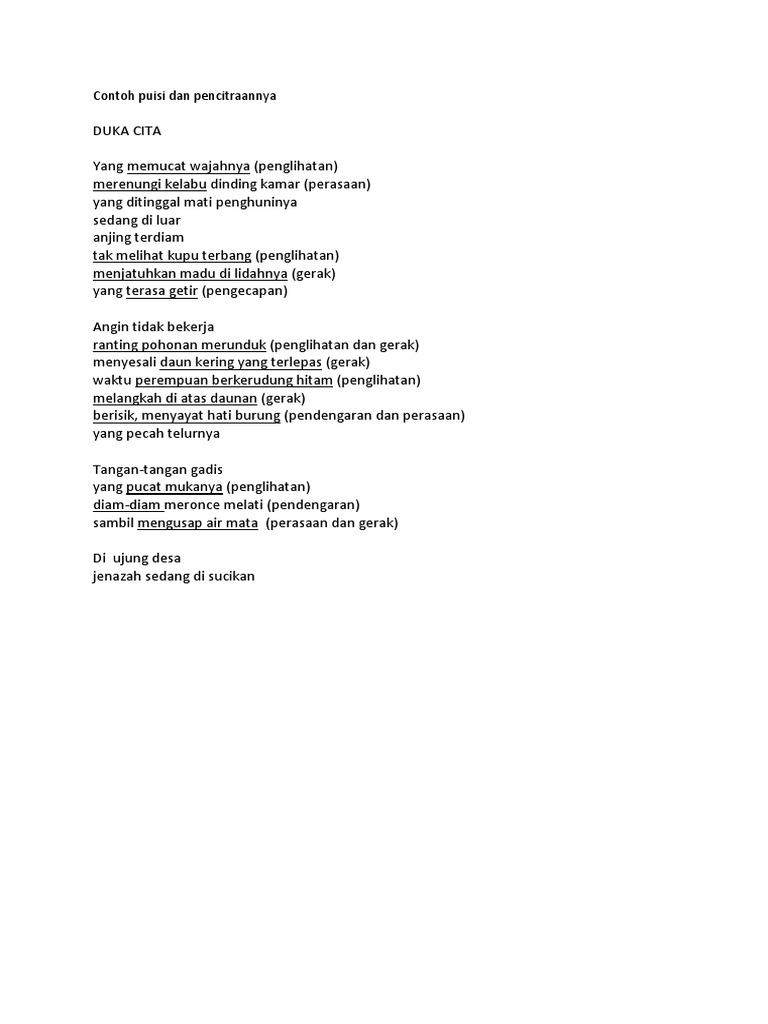 Contoh Puisi Dan Pencitraannya