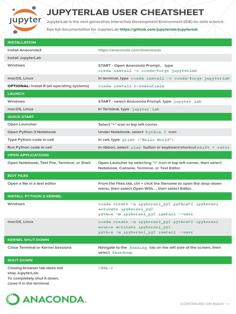 Jupyter Lab Cheat Sheet