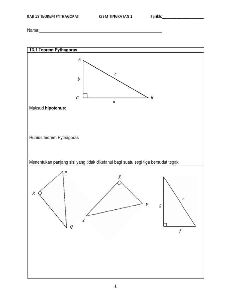 Bab 13 Teorem Pythagoras Kssm Tingkatan 1 Tarikh