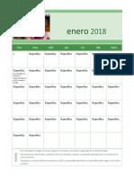 Enero 2018 Calendar