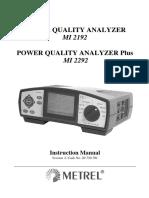 Manuals Pqa analizador redes MI 2192 Metrel