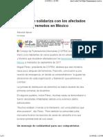 COFEM se  solidariza con los afectados por los terremotos en México