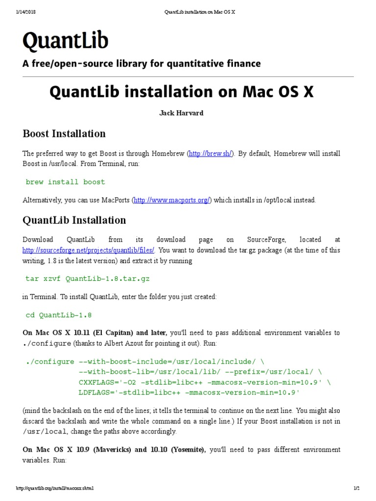 QuantLib Installation on Mac OS X | Library (Computing) | Mac Os