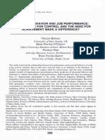 (Baruch, Y.; O'Creevy, M.; Hind, P. & Vigoda-Gadot, E., 2004) Prosocial Behavior and Job Performance