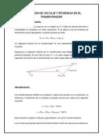 Regulacion de Voltaje y Eficiencia en El Transforador