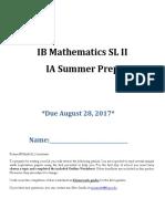 IB Math SL IA Prep