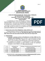 Especialização Em Tecnologias, Formação Unifei_2017