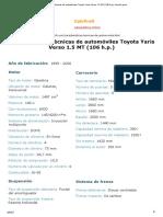 Características Técnicas de Automóviles Toyota Yaris Verso 1.5 MT (106 h.p