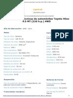 Características Técnicas de Automóviles Toyota Hilux 4.0 MT (236 h.p