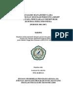 Skripsi - Analisis Manajemen Laba Sebelum dan Sesudah Peristiwa Right Issue pada Perusahaan Mempublik di Bursa Efek Indonesia (periode 2001-2007)