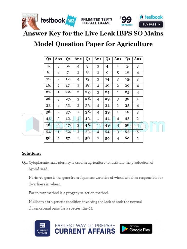Answer Key for the Live Leak IBPS SO Mains Model Question