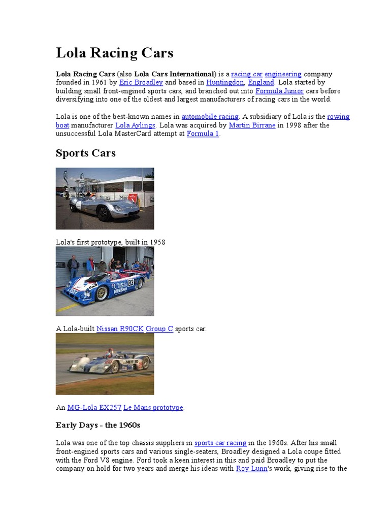 Lola Racing Cars, Wikipedia | Formula Racing | Formula Racing Series