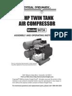 Harbor Frieght 3 HP Twin Tank Air Compressor 94734