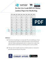 Answer Key for the Live Leak IBPS SO Mains Model Question Paper for Marketing
