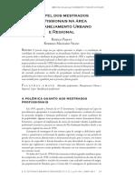 PIQUET, R VILANI O Papel Dos Mestrad Profissionais Na Áres de Planejamento