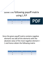 Solve the Following Payoff Matrix Using L