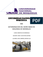 Determinacion Del Work Index en Molienda de Mienrales