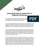 Comunicado Sobre La Negociación en República Dominicana