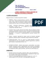 CONSIDERACIONES GENERALES PARA ELABORAR UN PROYECTO DE RIEGO A PRESION