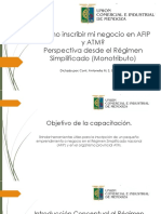2. Cómo Inscribir Mi Negocio en AFIP y ATM - Perspectiva Desde El Régimen Simplificado
