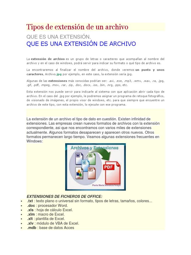 Tipos de Extensión de Un Archivo
