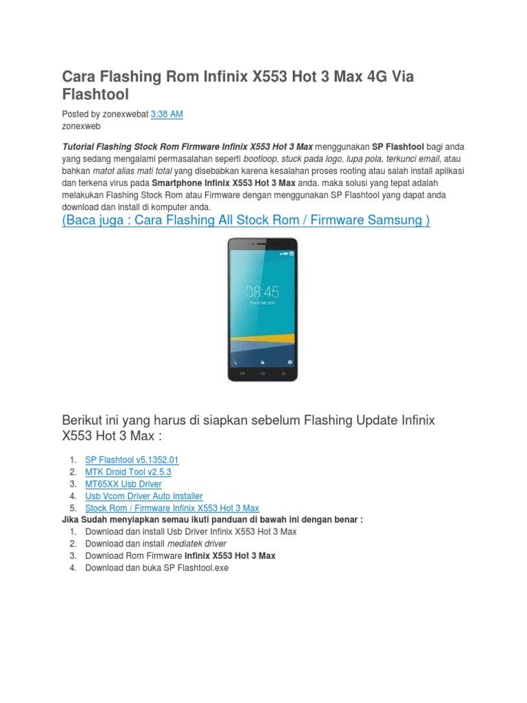 Cara Flashing Rom Infinix X553 Hot 3 Max 4G via Flashtool