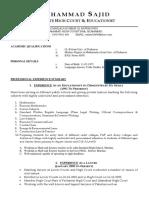 CV Muhammad Sajid Advocate
