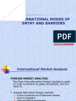 Modes of Entry & BARRIERS