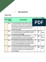 Griego Matriz Especificaciones