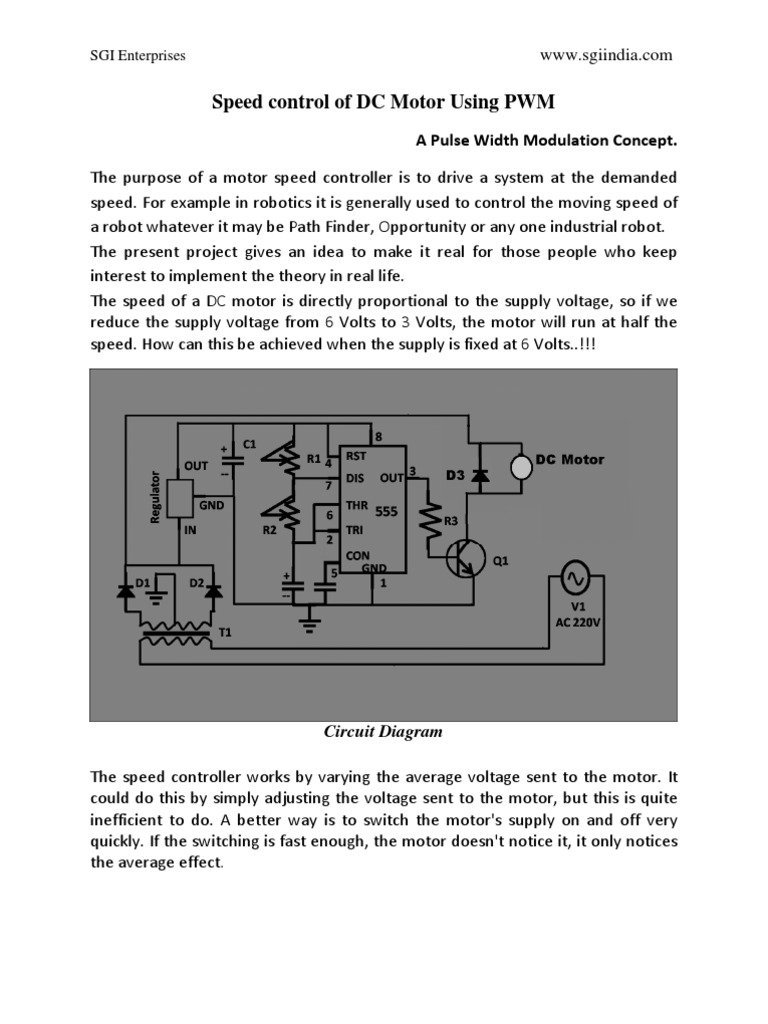 Speed Control of DC Motor Using PWM   Capacitor   Rectifier