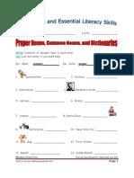 Lesson 6 - Proper Nouns Common Nouns and Dictionaries Worksheet