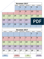 2017 Calendar Two Months Per Page