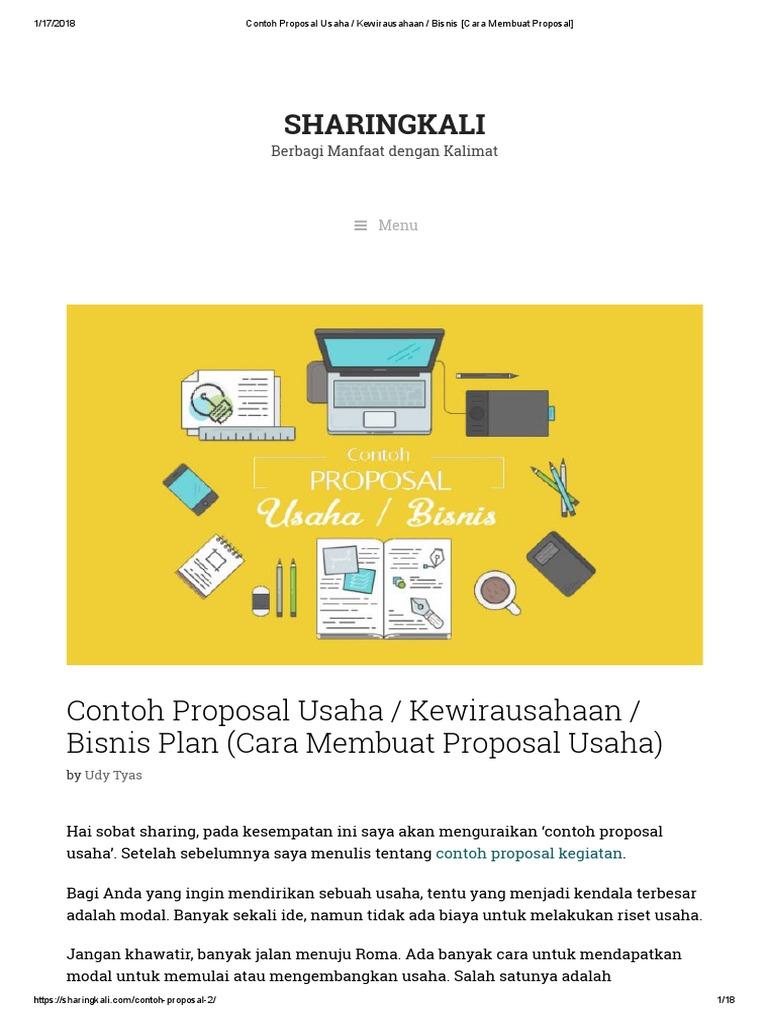 Contoh Proposal Usaha _ Kewirausahaan _ Bisnis [Cara ...