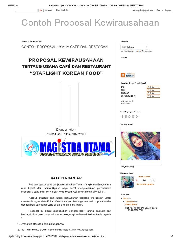 Contoh Proposal Kewirausahaan Contoh Proposal Usaha Cafe Dan Restoran