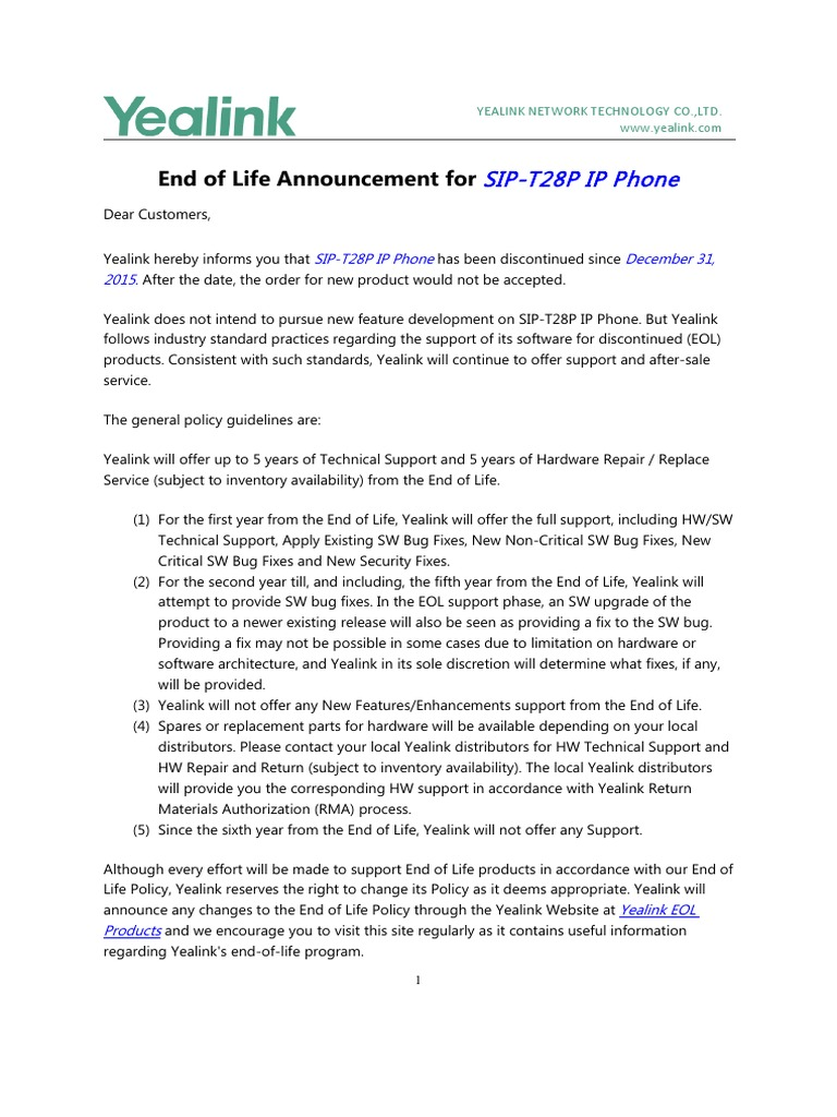 Yealink End of Life Announcement-T28P | Technical Support
