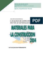Especificaciones Técnicas de Materiales Para La Construccion