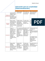 FORMA#5, Matriz de Valoración Para La Creatividad (Heteroevaluación)