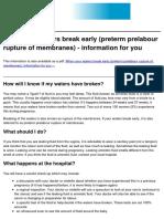 Premature Rupture of Membranes