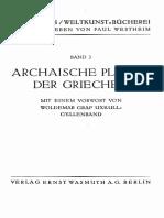 Graf Uxkull-Gyllenband - Archaische Plastik Der Griechen