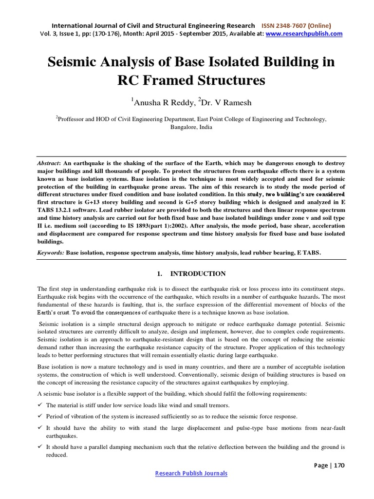 Seismic Analysis of Base Isolated Building in RC Framed Structures