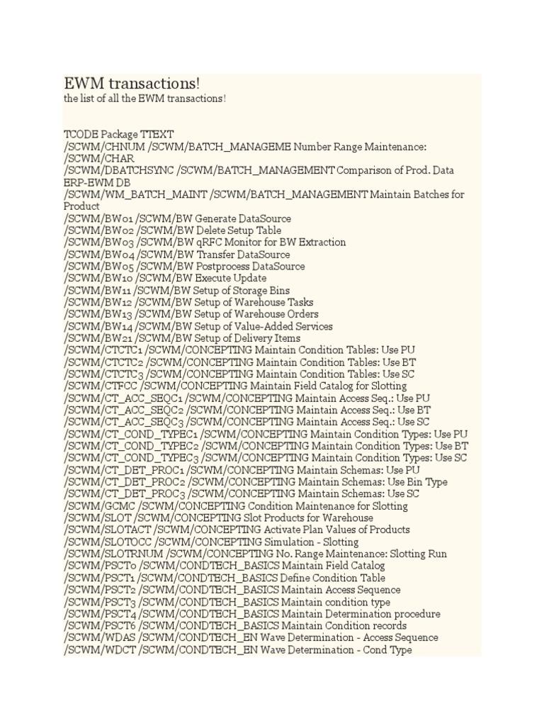 All EWM Tcodes | Warehouse | Radio Frequency Identification