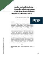 Formação e Atualidade Da Questão Regional No Processo de Modernização Do Vale Do Jequitinhonha Mineiro_Carol
