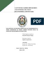 Evaluacion de Los Recursos Hidricos en Las Comunidades de La Tierra Comunitaria de Origen Lomerio Provincia Ñuflode Chavez Del Departamento de Santa Cruz