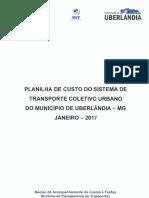 Planilha de Custo Uberlandia 2017