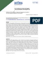 Influencia Da Adição de Residuo de Cbca Nas Propriedades Tecnologicas Da Ceramica Vermelha - De Faria 2012