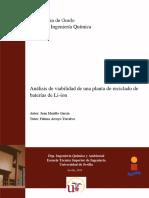 AnáLisis de Viabilidad de Una Planta de Reciclado de BaterÃ_as de Li-ion. Juan Murillo GarcÃ_a